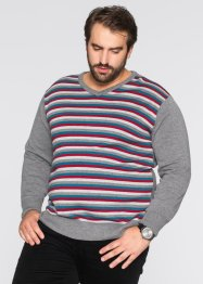 V-Pullover Regular Fit, bpc bonprix collection, anthrazit meliert gestreift