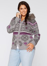 Strickjacke mit Kapuze, bpc bonprix collection, wollweiss gemustert