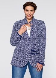 Trachten-Strickjacke, bpc bonprix collection, mitternachtsblau/weiss