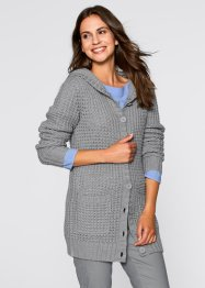 Kapuzen-Strickjacke, bpc bonprix collection, wollweiss