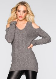 Strickpullover mit Cut-Outs, BODYFLIRT boutique, grau meliert