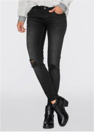 Skinny Jeans mit Destroyed-Effekt, RAINBOW, black denim