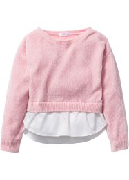 Chenille Pullover in Lagenoptik, bpc bonprix collection, puderrosa/weiss