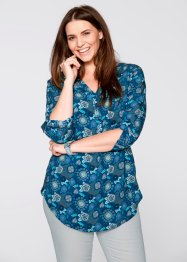 3/4-Arm Bluse, bpc bonprix collection, blaupetrol bedruckt