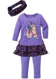 Shirt+Rock+Leggings Set (4-tlg. Set), bpc bonprix collection, helllila/dunkellila
