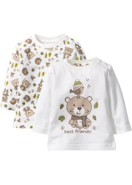 Baby Langarmshirt (2er-Pack) Bio-Baumwolle, bpc bonprix collection, wollweiss
