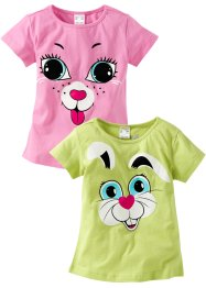 Lot de 2 T-shirts, bpc bonprix collection, vert menthe/rose
