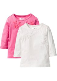 Shirt mit Applikation (2er-Pack), bpc bonprix collection, wollweiss+pink