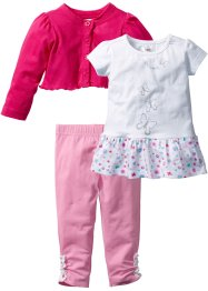 Baby Bolero + T-Shirt + Leggings (3-tlg.) Bio-Baumwolle, bpc bonprix collection, dunkelpink/weiss/rosa