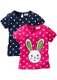 Baby-T-Shirt (2er-Pack) Bio-Baumwolle, bpc bonprix collection, dunkelpink/dunkelblau