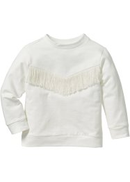 Sweatshirt mit Fransen, bpc bonprix collection, cremeweiss
