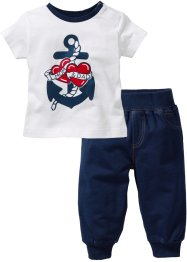 Baby-T-Shirt + Sweathose (2-tlg) Bio-Baumwolle, bpc bonprix collection
