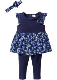 Baby Kleid + Leggings + Stirnband (3-tlg.) Bio-Baumwolle, bpc bonprix collection, mitternachtsblau/dunkelblau