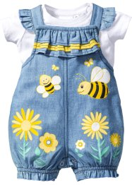 Baby T-Shirt + Jeans Latzhose (2-tlg. Set), bpc bonprix collection, weiss/lightblue bleached