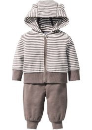 Baby Sweatjacke + Sweathose (2-tlg. Set) Bio-Baumwolle, bpc bonprix collection, weiss/taupe