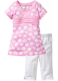 Longshirt + Leggings (2-tlg. Set), bpc bonprix collection, rosa geblümt