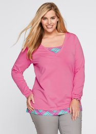 2-in-1-Langarmshirt, bpc bonprix collection, mattpink