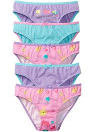 Lot de 5 slips, bpc bonprix collection, rose imprimé/mauve/bleu ciel
