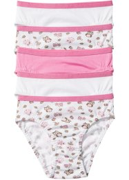 Slip (5er-Pack), bpc bonprix collection, rosa/weiss