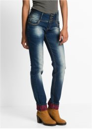Straight Stretchjeans mit Spitze am Saum, RAINBOW, dirty denim