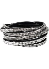Wickelarmband Kette + Strass, bpc bonprix collection, schwarz