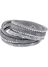 Wickelarmband Glitzer mit Nieten, bpc bonprix collection, grau
