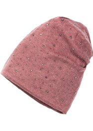 Beanie mit dunklen Strass-Steinen, bpc bonprix collection, beere