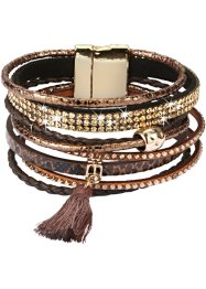 Breites Armband mit Troddel, bpc bonprix collection, braun/goldfarben
