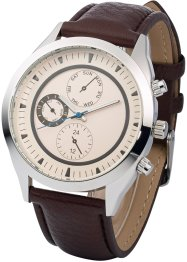 Montre homme avec bracelet style chrono, bpc bonprix collection, marron