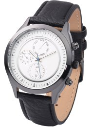 Herrenarmbanduhr in Chrono-Optik, bpc bonprix collection, schwarz