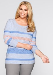 Pullover, bpc bonprix collection, perlblau gestreift