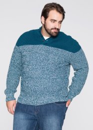 Pullover Regular Fit, bpc selection, blaupetrol/weiss