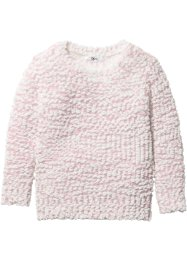 Pullover aus Popcorn Strick, bpc bonprix collection, zartrosa/wollweiss
