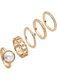 5-tlg. Ring-Set, bpc bonprix collection, goldfarben