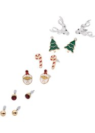 6er Weihnachtsohrstecker-Set, bpc bonprix collection, goldfarben