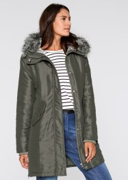 Parka mit kuscheligem Fellimitat innen, bpc bonprix collection, dunkeloliv