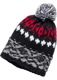 Bonnet à pompon, bpc bonprix collection, rouge/gris/noir