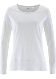 Langarmshirt mit Spitzenbordüre, bpc bonprix collection, wollweiss