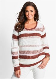 Pullover, bpc selection, marsalabraun/wollweiss/hellrosa