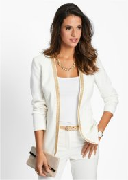Blazer mit Pailletten, bpc selection, wollweiss/gold