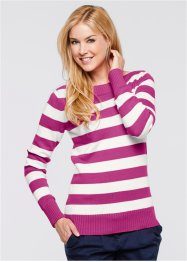 Basic Baumwollstrick-Pullover, bpc bonprix collection, violettorchidee/wollweiss gestreift