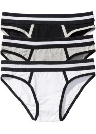 Panty (3er-Pack), bpc bonprix collection, hellgrau meliert/schwarz/weiss