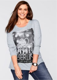"Langarm-Stretchshirt, bpc bonprix collection, hellgrau meliert bedruckt ""Berlin"""