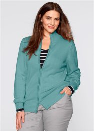 Basic Baumwollstrick-Jacke, bpc bonprix collection, mineralblau