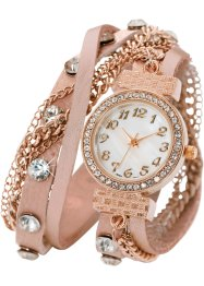 Montre double tour Mairi, bpc bonprix collection, rose/doré rose