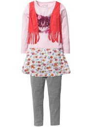 Shirt mit Weste + Rock + Leggings (3-tlg. Set), bpc bonprix collection, puderrosa bedruckt