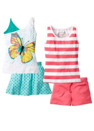 Strandoutfit (4-tlg. Set), bpc bonprix collection, hellpink/aqua/weiss