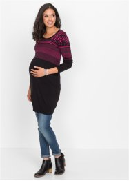 Umstandskleid in Strick mit Norwegermuster, bpc bonprix collection, schwarz/dunkelpink gemustert