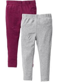Leggings (2er-Pack), bpc bonprix collection, hellgrau meliert+beere
