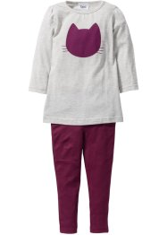 Longshirt + Leggings (2-tlg. Set), bpc bonprix collection, naturmeliert/beere